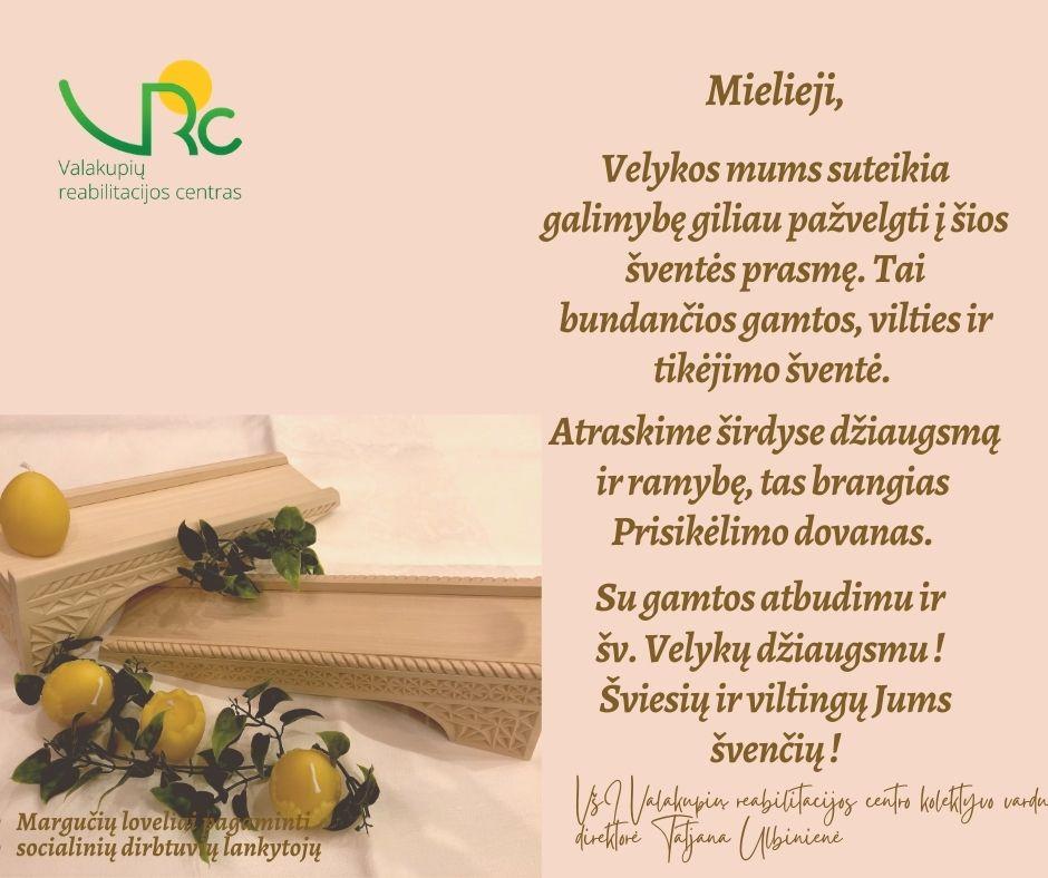 VRC sveikinimas Velykos